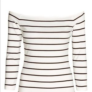 H&M Striped Off Sholder Long Sleeve Top S
